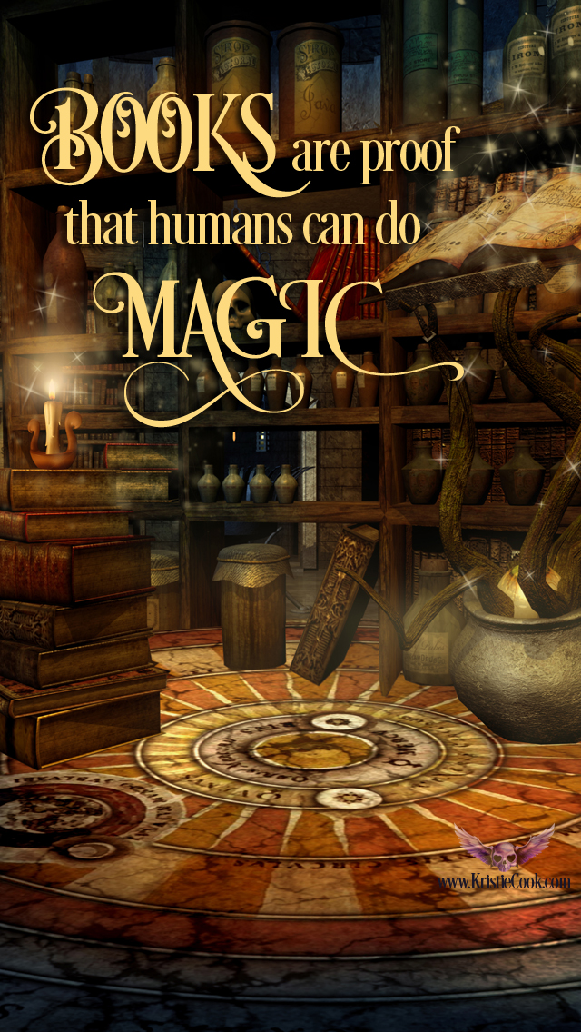 Books are proof that humans can do magic, image for iPhone with books and potions